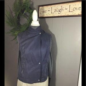 Banana Republic blue vest with zippered pockets.